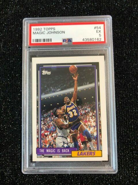 1992 Topps Magic Johnson 54 Basketball Card La Lakers Psa 5 Ex