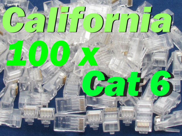100 X pcs RJ45 Plug Cat6 Modular LAN Network Connector Internet Ethernet Cable E
