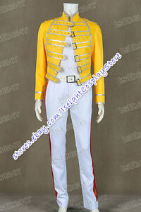 queen band lead vocals cosplay freddie mercury costume yellow white suit cool ebay details about queen band lead vocals cosplay freddie mercury costume yellow white suit cool