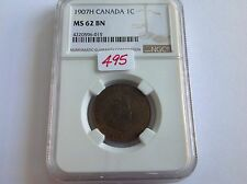 1907H Canada 1C NGC MS 62 Brown KEY DATE