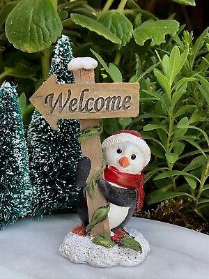 """Miniature Dollhouse FAIRY GARDEN Christmas ~ TINY 1/""""  Snow Village Manor House"""