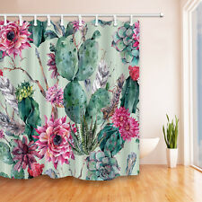 Hand Painted Cactus Waterproof Shower Curtain Polyester Fabric With 12 Hooks