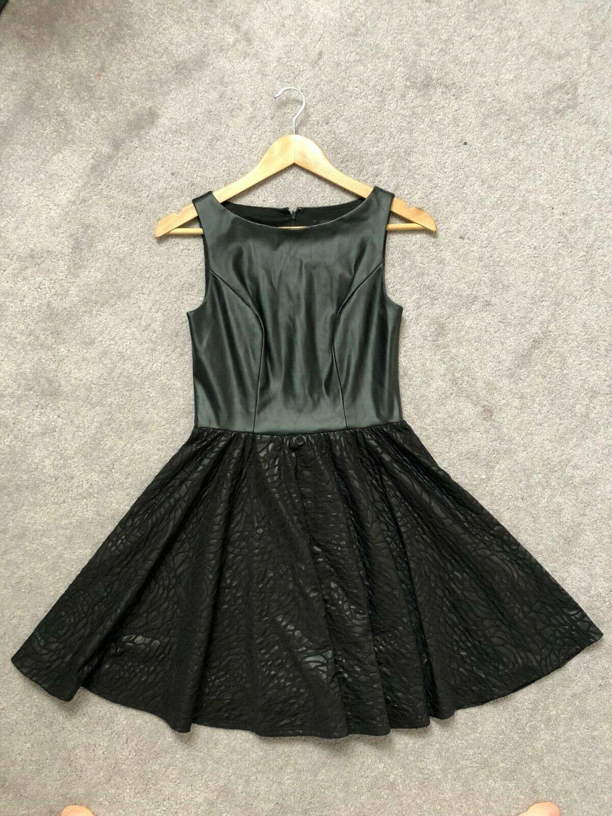 ALEXIA ADMOR Little schwarz Dress Faux Leather A-line Goth Punk Rosa Floral  sz XS