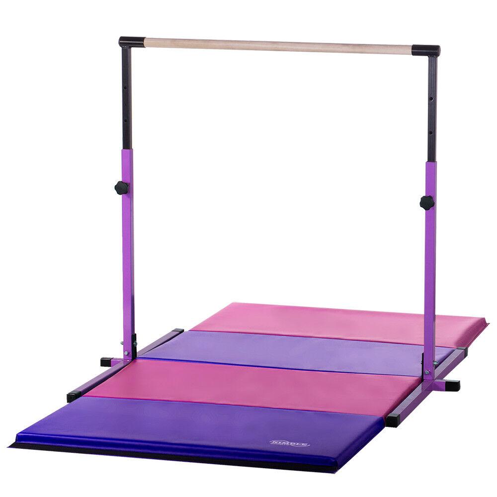 USA Made Adjustable Horizontal Bar 4ft X 8ft Gymnastics Mat Combo - Pink Purple