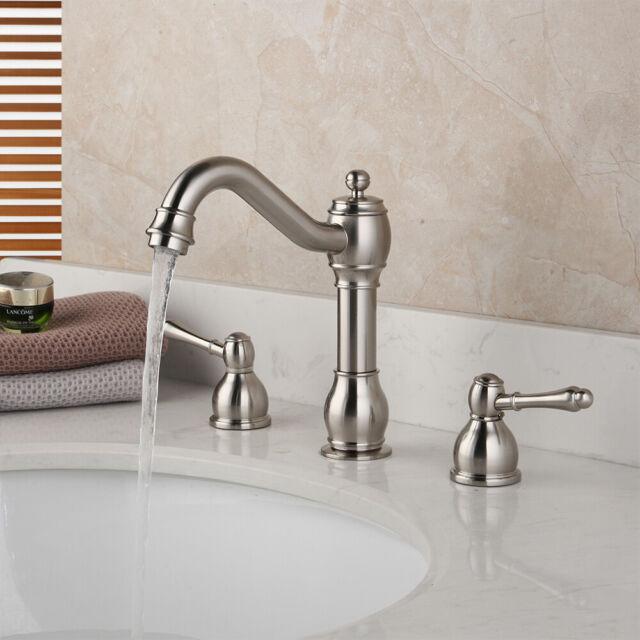 3PCS Brushed Nickel Bathroom Tub Faucet 2 Handles 3 Holes Vanity Basin Mixer Tap