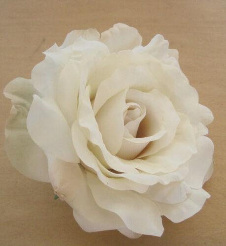 "Large 5/"" Variegated Cream White Silk Rose Flower Hair Clip Prom,Bridal Wedding"