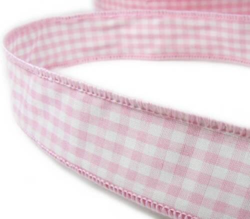 "5 Yds Light Pink Pastel Baby Pink White Gingham Craft Wired Ribbon 1 1//4/""W"