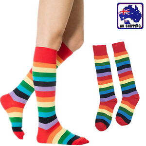 1Pair-Girl-Women-Ladies-Rainbow-Striped-Sock-High-Knee-Stripe-Stocking-CSOC79209
