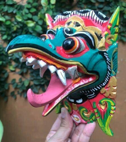 Mask Tongue Barong African Wood Decor Wall Hand Carved Topeng Dragon Tiki Tribal