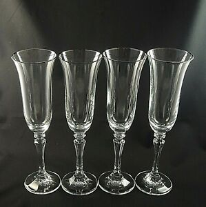 PAGEANT-by-Schott-Zwiesel-Crystal-CHAMPAGNE-FLUTES-Platinum-Trim-9-034-Set-of-4