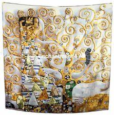 "Large 35""x35"" Handmade 100% Silk Twill Scarf Wrap w/ Klimt's ""The Tree of Life"""
