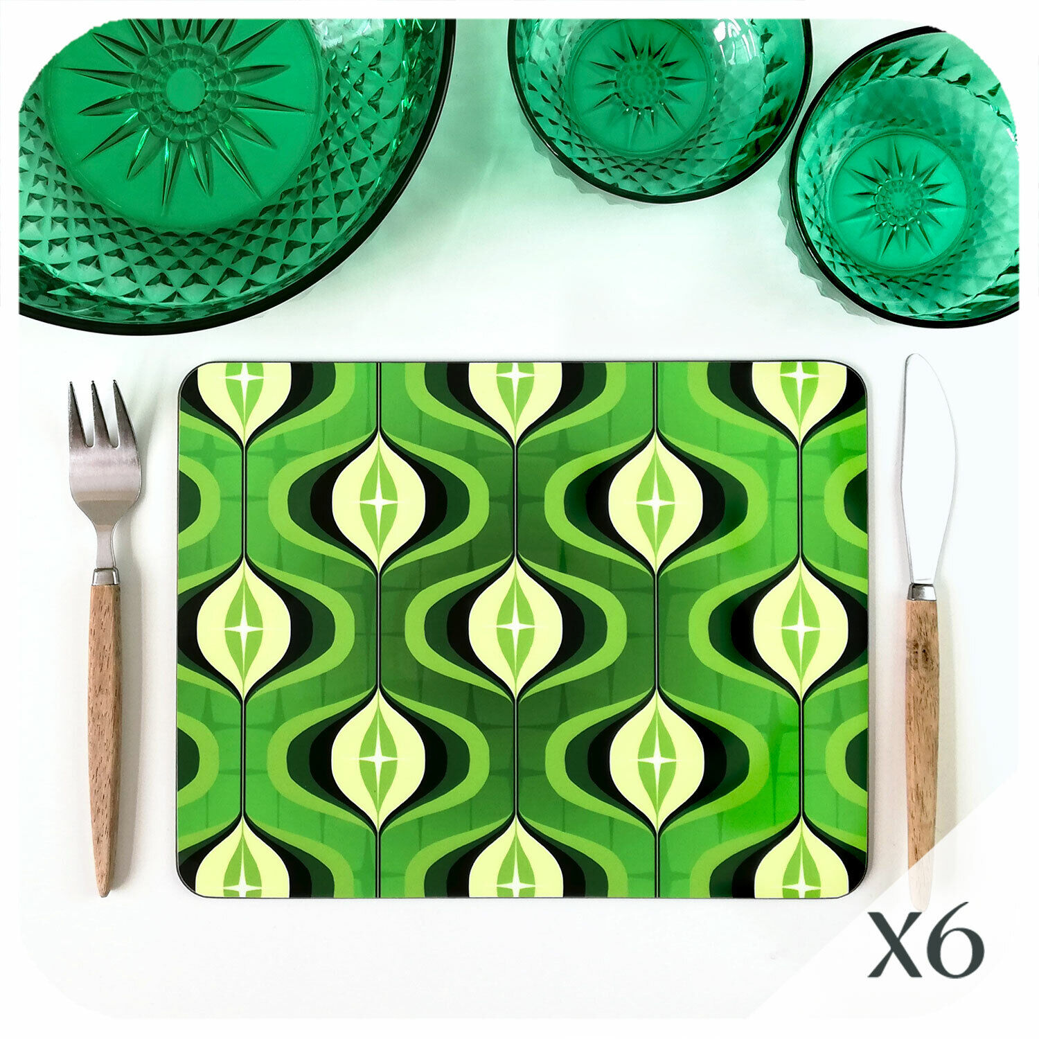 70s Op Art Grün Placemats set of 6, Retro Placemats, 70s home decor, 70s kitsch