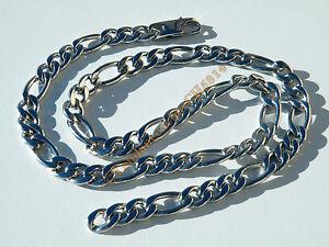Collier-Chaine-Argente-10-mm-Maille-Figaro-3-1-Acier-Inoxydable-Maille-60-cm
