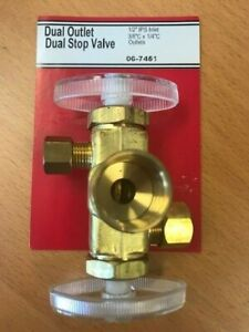 Dual-Stop-Valve-1-2-034-IPS-Inlet-3-8-034-C-x-1-4-034-C-LASCO-06-7451-Brass-Dual-Outlet
