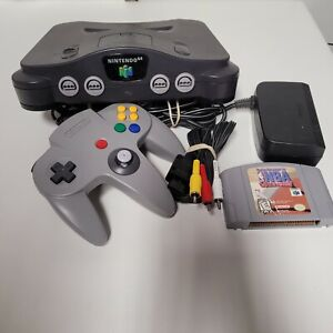 Nintendo 64 N64 System / Console Bundle + Cables + 1 Controller + NBA Courtside