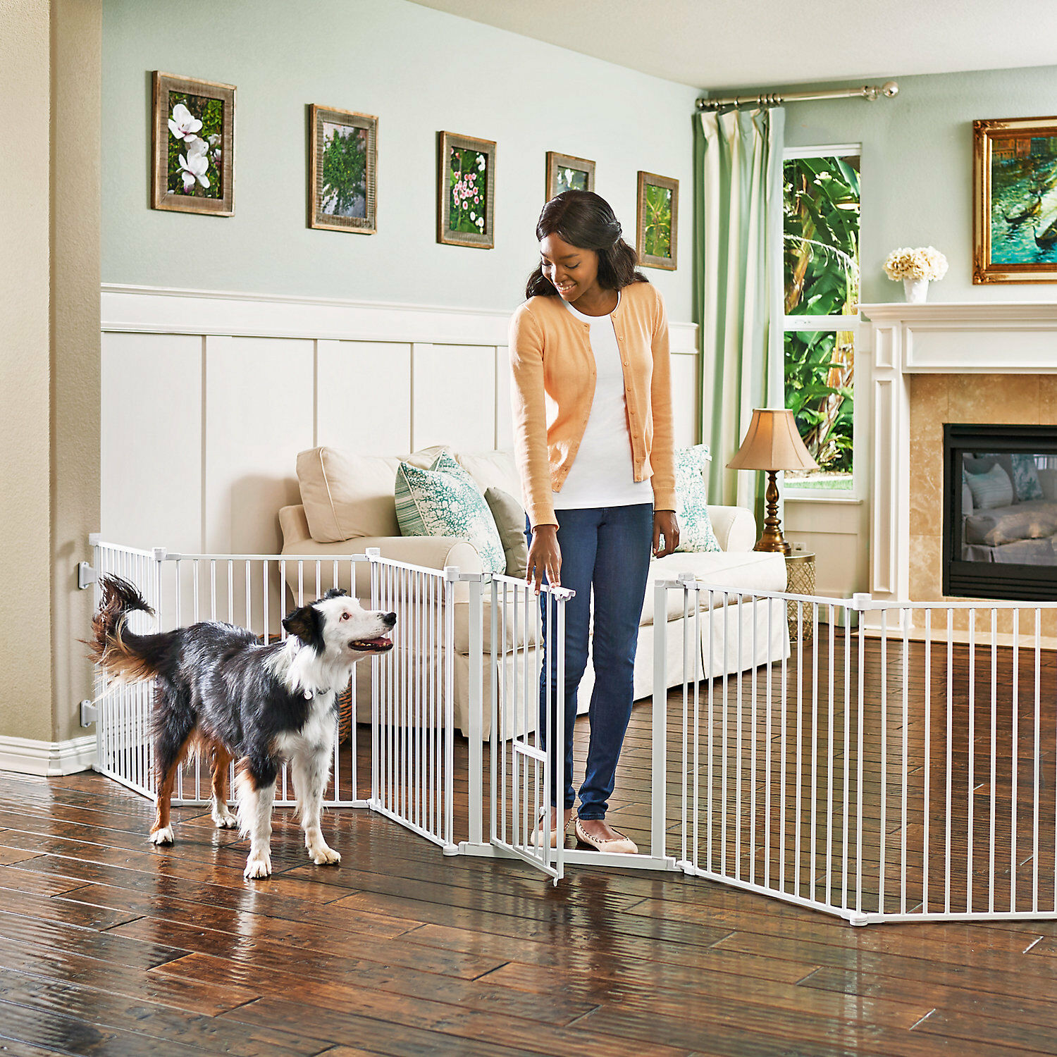 You & Me Congreenible Walk-Thru Pet Gate and Play Yard, 144  W x 28  H