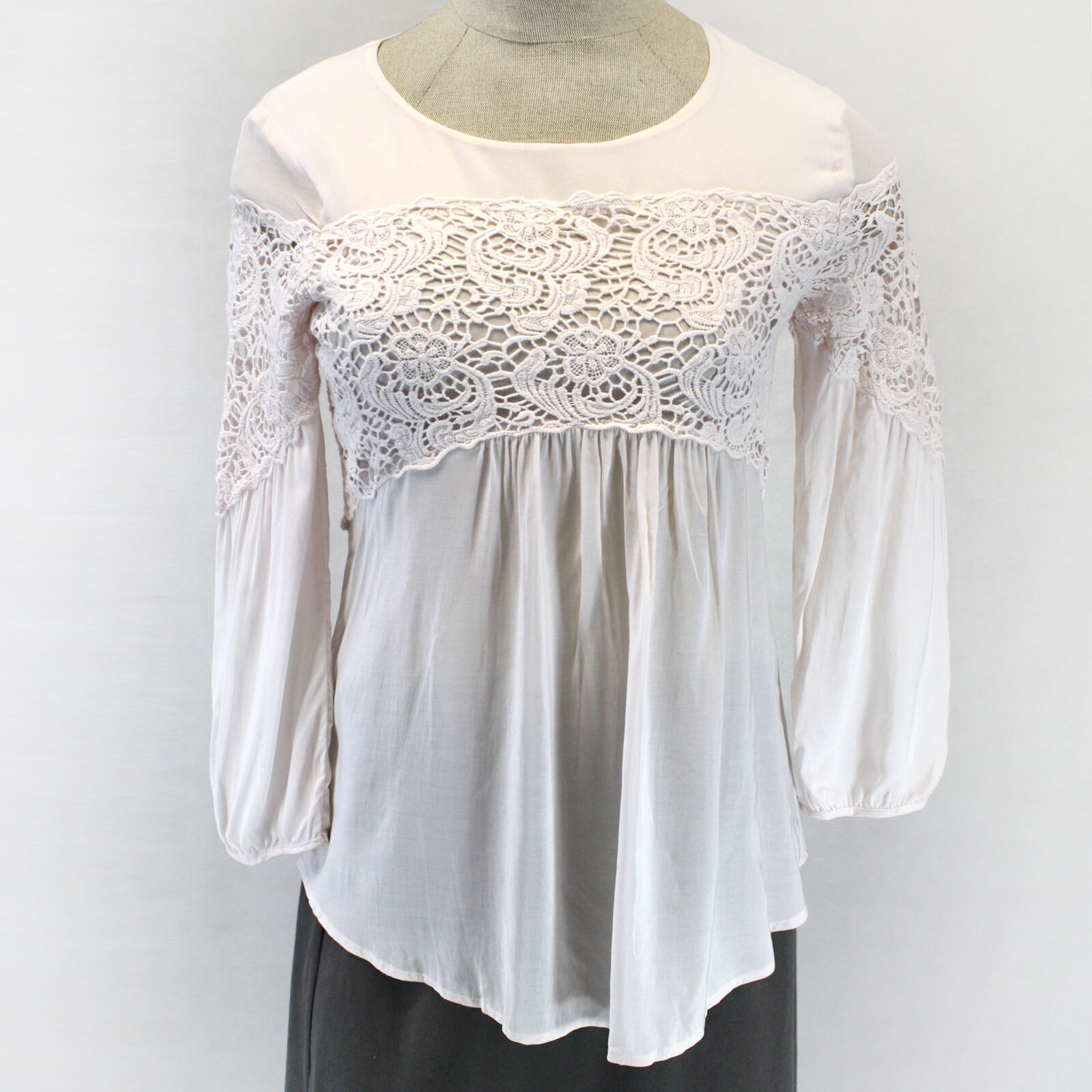 NEW XCVI Plus Größe Romantic Baby Rosa Lace Inset Babydoll Peasant Blouse 3X