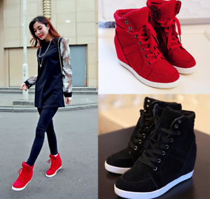 Women-039-s-Winter-High-Top-Sneaker-Lace-Up-Hidden-Wedge-Heel-Ankle-Boots-Shoes