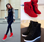 Women-039-s-Winter-High-Top-Sneaker-Lace-Up-Hidden-Wedge-Heel-Ankle-Boots-Shoes thumbnail 1