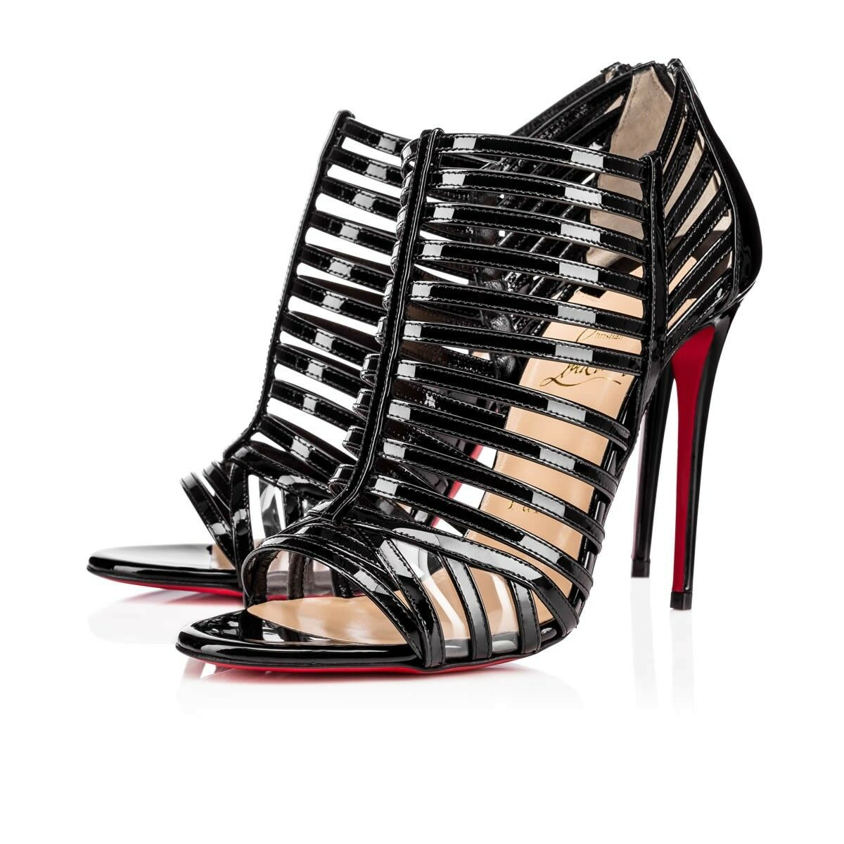 Christian Patent Louboutin City Jolly 100 Nero Patent Christian Caged Booties Sandals Shoes 41 3ab2b2