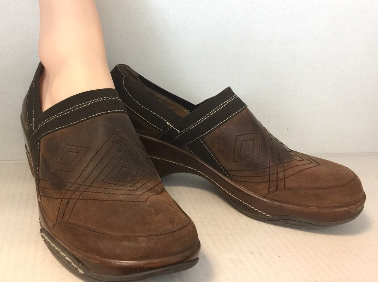 White Mountain Studio Ankle Leather Clogs Slip On Ankle Boots Brown Size 9 1/2 M