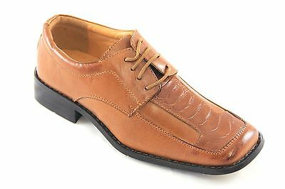 La Milano Boys Tan Genuine Leather Oxford Dress Shoes Style# AT20581