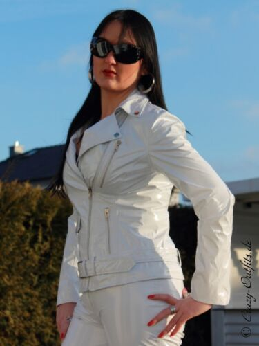Lackjacke verni Veste Blanc Biker-Style Brillant Vinyle Léviathans