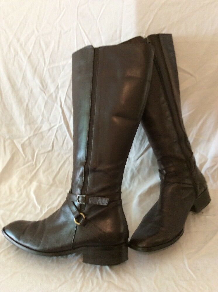 DUO Brown Knee High High Knee Leather Boots Size 40J 80e71d