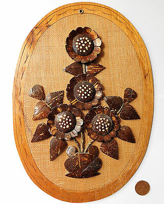 "Vintage coconut collage wall plaque Flower picture ethnic folk art craft 13"" b"
