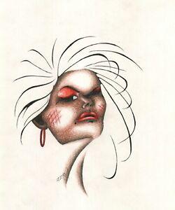 Original Uma Garota Mulher Rosto Mulher Desenho A Lapis