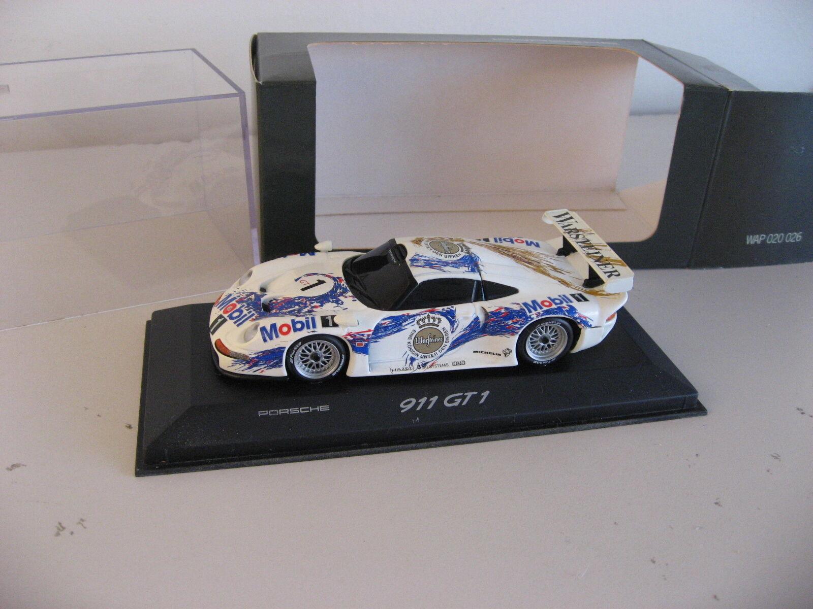 Porsche 911 GT1 Le Mans distribuidor sólo elemento nuevo viejo stock por Minichamps 1 43 996 993