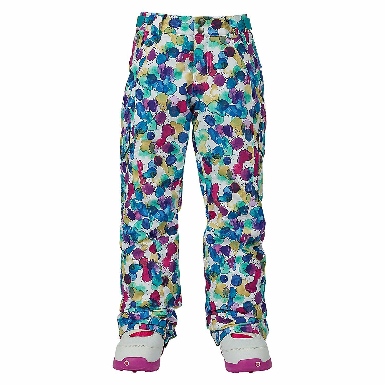 BURTON Girl's ELITE Cargo Snow Pants - Rainbow Drops - Large - NWT