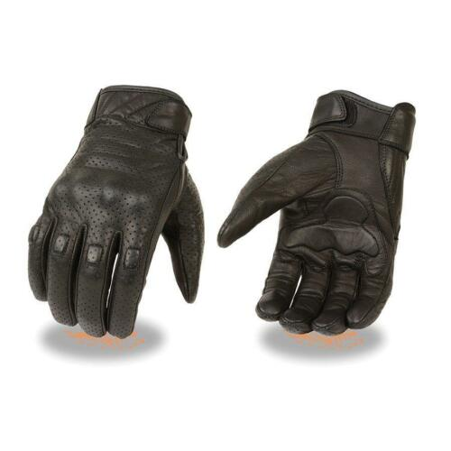 Milwaukee Leather Perforated Cowhide Leather Glove w// Rubberized Knuckle Padding