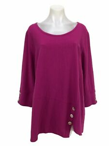 Soft Surroundings Women's Size L Pink 3/4 Sleeve Button Detail Top Tunic