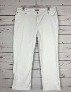 J-Jill-Authentic-Fit-White-Denim-Blue-Jeans-Capris-Ankle-Stretch-Women-039-s-Size-8