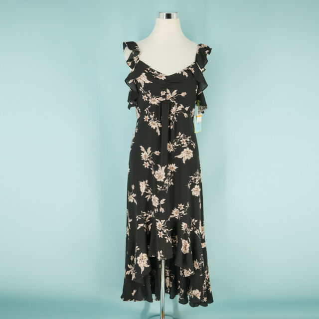 CeCe by Cynthia Steffe Size Small S Etched Floral High/low Midi Dress Black NWT
