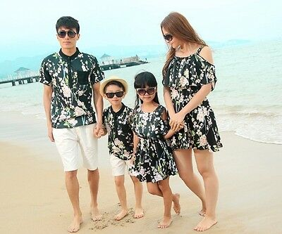New Summer sandbeach Family Woman Girls long Dress,Man boys t shirt+Pants sets