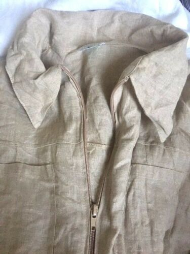 Lino 195 shirt £ Rrp Safari 100 Ladies Made Taupe Uk Taglia Jacket 12 00 Italy In trrAwq6x
