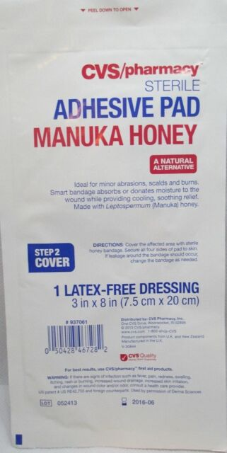 Buy Cvs Manuka Honey Adhesive Pads Bandage Latex Dressing 3in X 8in