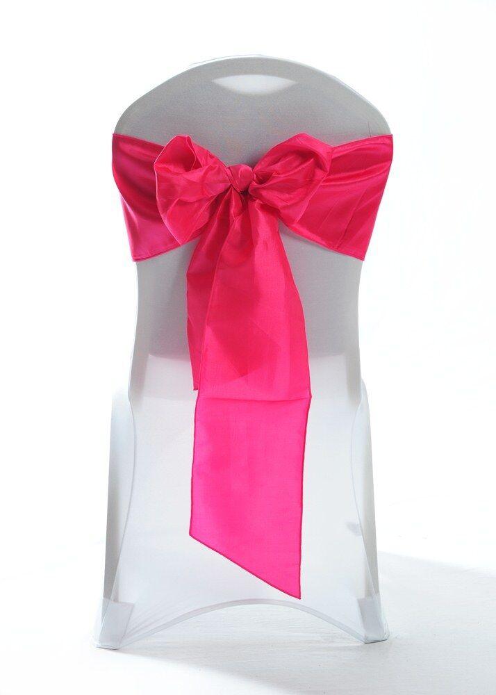 100 Rose Vif Taffetas - Housse de Chaise Mariage Ceinture Arc Mariage Fête Gb