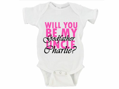 CUSTOM Will You Be My Godfather Uncle NAME Onesie Baby Godparents Girl Boy