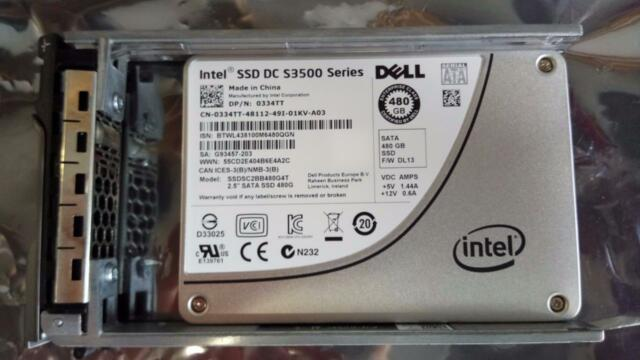 """Dell 480GB SSD SATA 6Gb/s 2.5"""" Drive 334TT Intel DC S3500 SSDSC2BB480G4T TAX INV"""