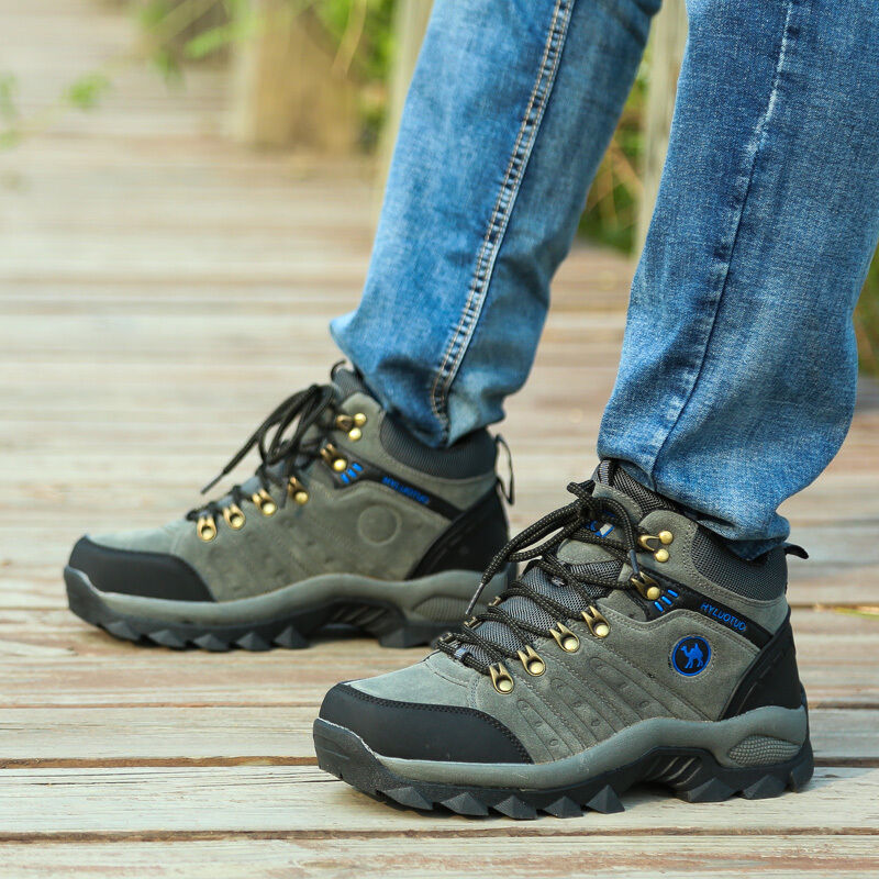 Men's lightweight leather waterproof mid boots cut top comfortable hiking boots mid shoes fd210b