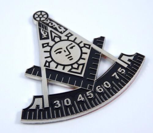 "Masonic Past Master 2.75/"" Metal car Emblem Mason chrome with black decal MAS14"