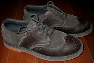 COLE-HAAN-KIDS-LITTLE-BOYS-BROWN-OILED-LEATHER-amp-SUEDE-WINGTIP-SHOES-US-1