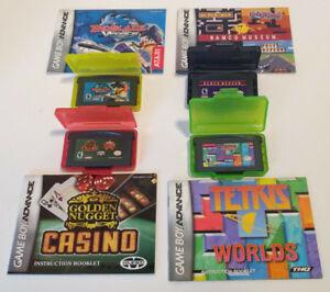 Lot of 4 Nintendo Game Boy Advance Games w/ Booklets Tetris Namco Museum etc