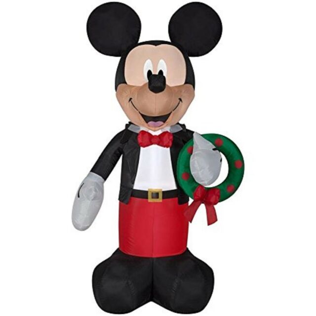 gemmy inflatable 6ft mickey mouse with wreath indooroutdoor christmas decoratio - Mickey Mouse Christmas Lawn Decorations