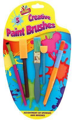 Children's Kids 5 x Creative Sponge Paint Glue Brushes Set Art Craft Painting