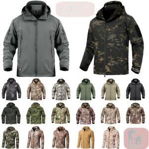 Mens Waterproof Tactical Soft Shell Jacket Coat Army Windbreaker Outdoor Casual