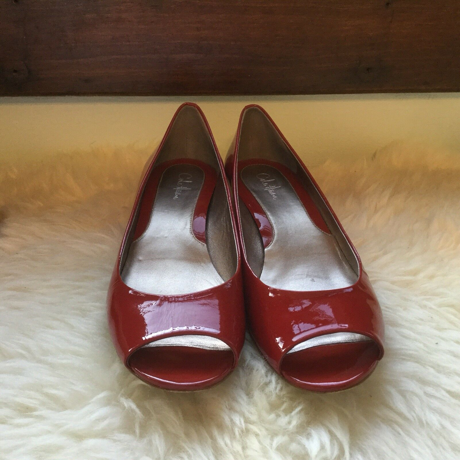 Cole Haan 8 rosso Patent Leather Peep Toe  Demi Wedge